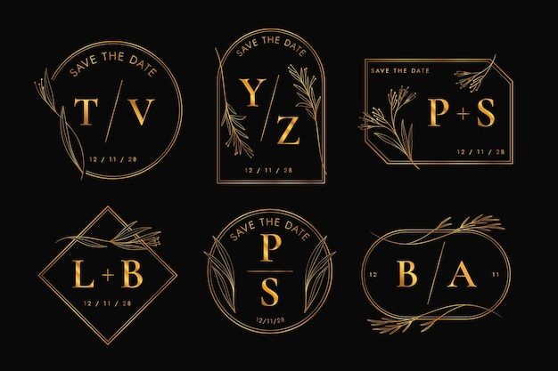 Conjunto de logotipo de casamento de design plano linear
