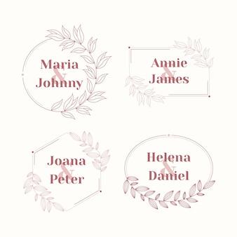 Conjunto de logotipo de casamento de design plano