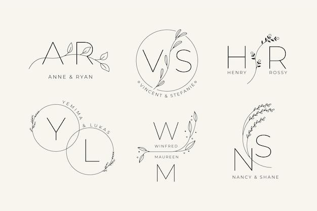 Conjunto de logotipo de casamento linear e plano