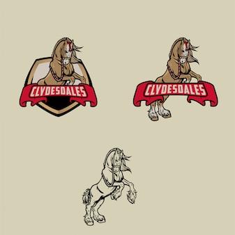 Conjunto de logotipo de cavalo de clydesdale