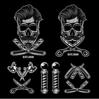 Conjunto de logotipo de caveira de barbearia