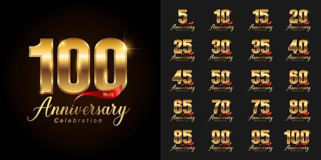 Conjunto de logotipo de celebração de aniversário dourado.