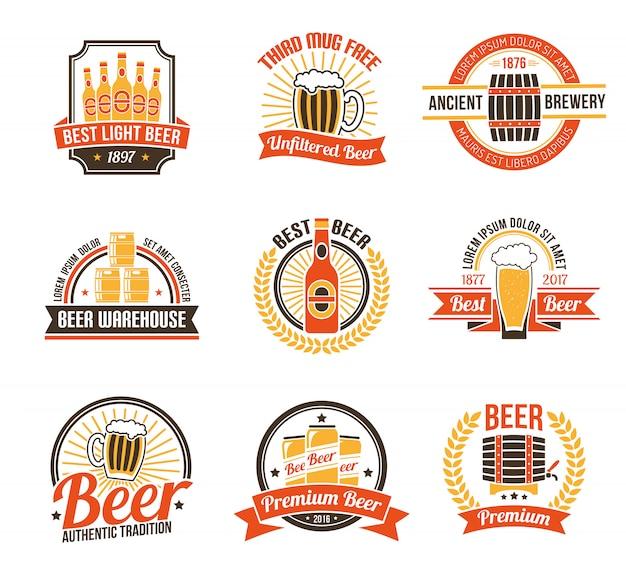 Conjunto de logotipo de cerveja