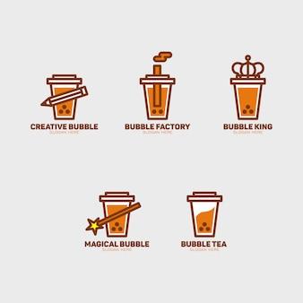 Conjunto de logotipo de chá bolha