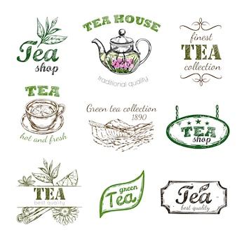 Conjunto de logotipo de chá de esboço