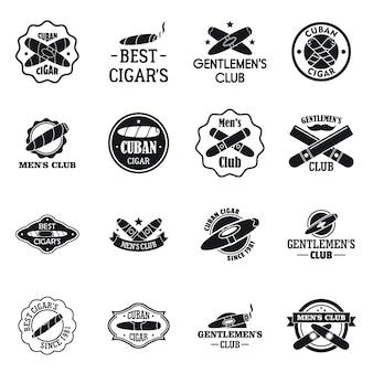 Conjunto de logotipo de charuto