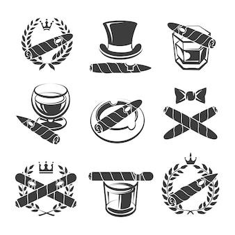 Conjunto de logotipo de charutos. tabaco e nicotina, dependência e bebida. ilustração vetorial