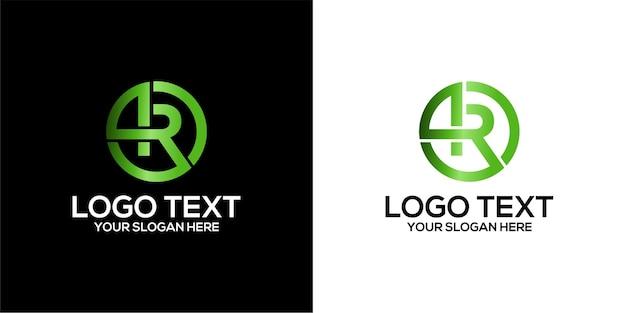 Conjunto de logotipo de círculo combinado com a letra r e 4 modelos de vetor premium