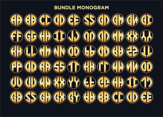 Conjunto de logotipo de círculo combinado com modelos de alfabeto vetor premium