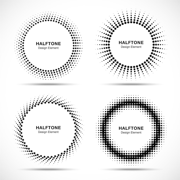 Conjunto de logotipo de círculos de meio-tom abstrato preto