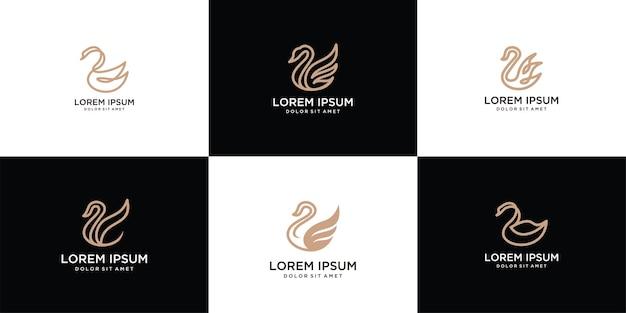 Conjunto de logotipo de cisne de design inspirador