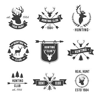 Conjunto de logotipo de clube de caçador.