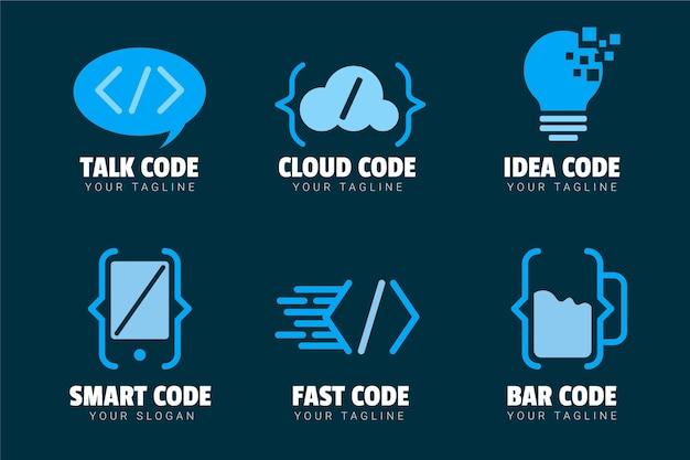 Conjunto de logotipo de código criativo