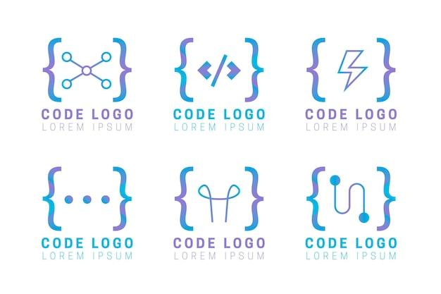 Conjunto de logotipo de código de design plano