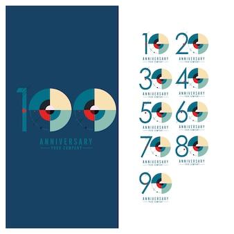 Conjunto de logotipo de comemoração de aniversário de ano