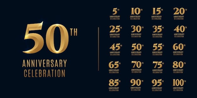 Conjunto de logotipo de comemoração de feliz aniversário