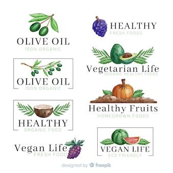 Conjunto de logotipo de comida saudável aquarela
