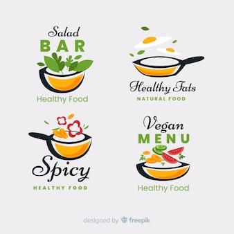 Conjunto de logotipo de comida saudável plana