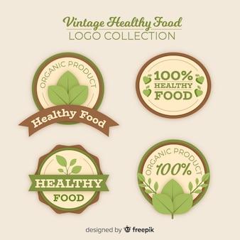 Conjunto de logotipo de comida saudável vintage