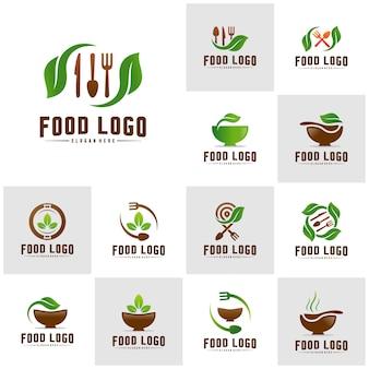 Conjunto de logotipo de comida saudável