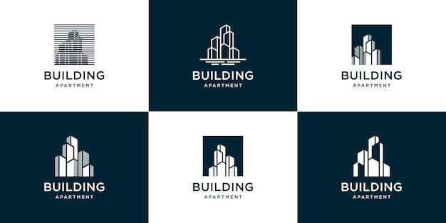 Conjunto de logotipo de construção abstrata