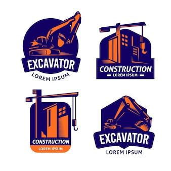 Conjunto de logotipo de construção e escavadeira