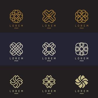 Conjunto de logotipo de contorno