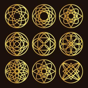 Conjunto de logotipo de cor dourada abstrata forma redonda isolada