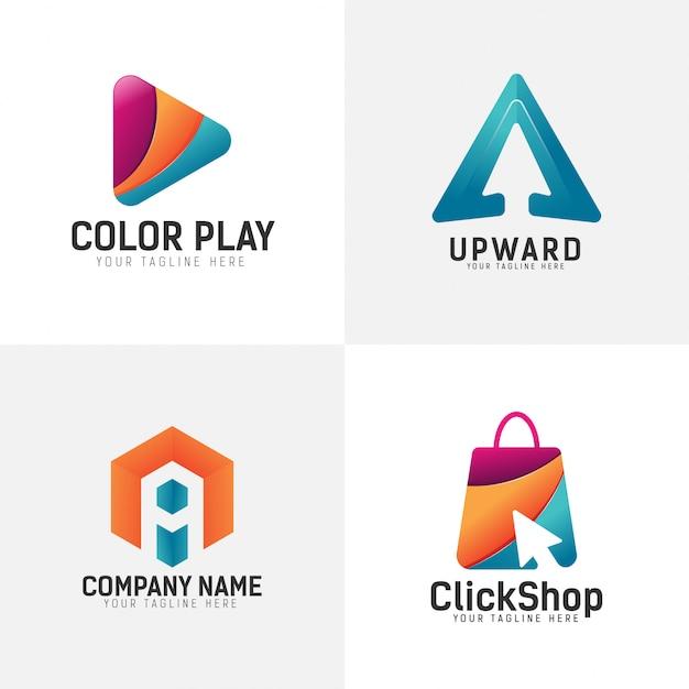Conjunto de logotipo de cor