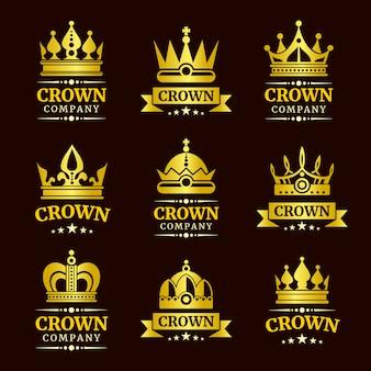 Conjunto de logotipo de coroa de luxo