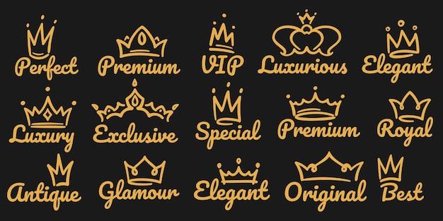 Conjunto de logotipo de coroa premium