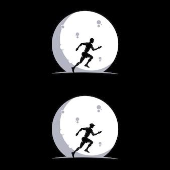 Conjunto de logotipo de corrida na lua