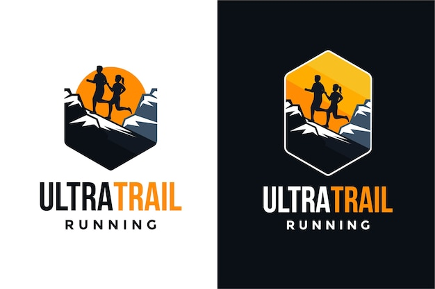 Conjunto de logotipo de corrida ultra trail