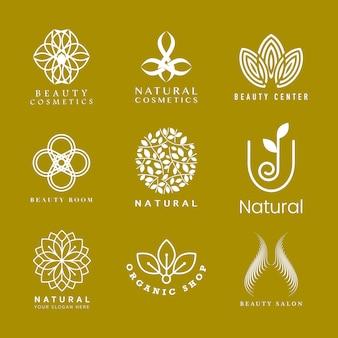 Conjunto de logotipo de cosméticos naturais