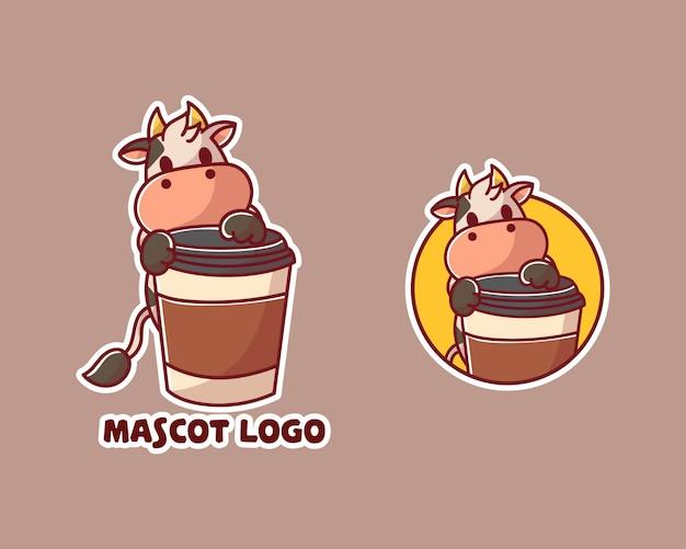 Conjunto de logotipo de cowmascot de café fofo