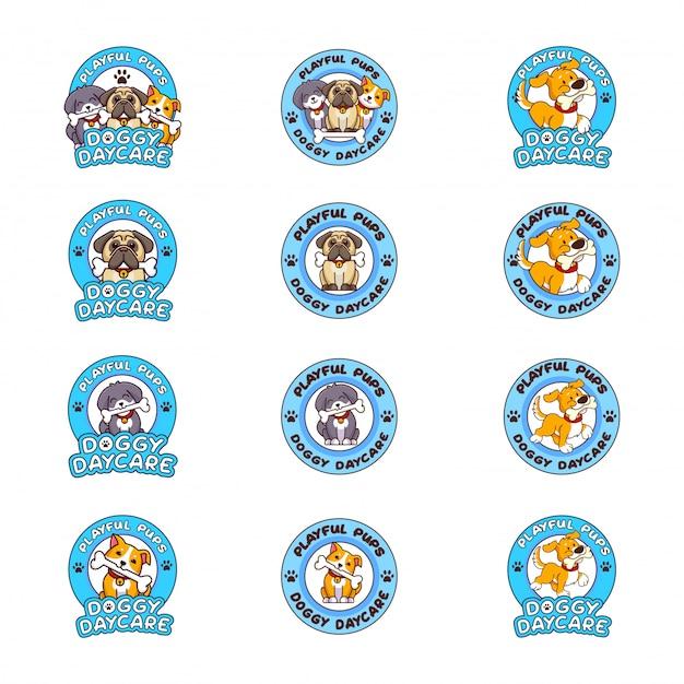 Conjunto de logotipo de creche para cães