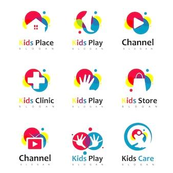 Conjunto De Logotipo De Crianças Coloridas