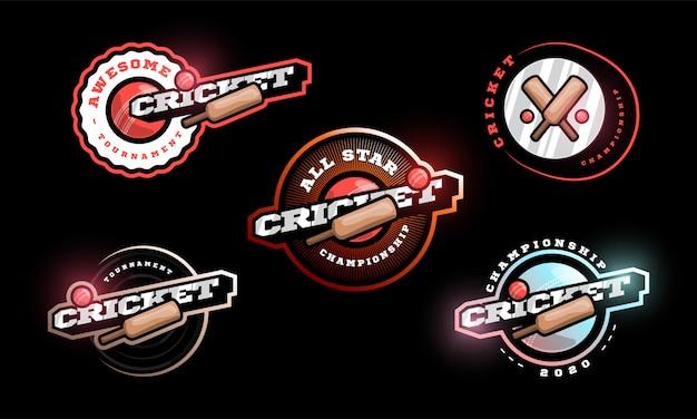 Conjunto de logotipo de críquete.