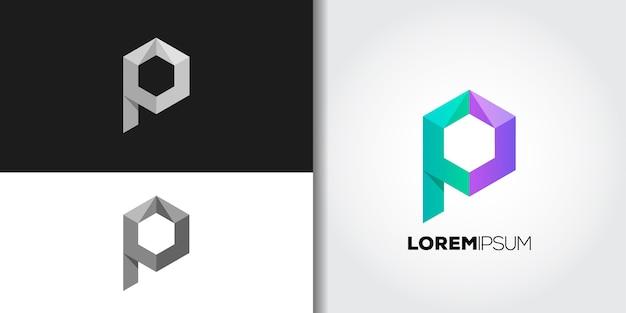 Conjunto de logotipo de cubo letra p