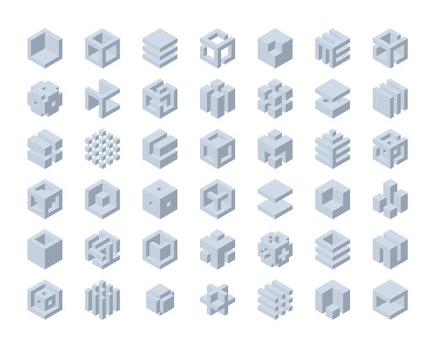 Conjunto de logotipo de cubo