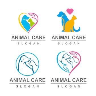 Conjunto de logotipo de cuidados de animais de estimação