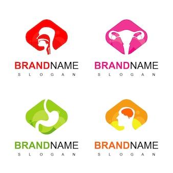 Conjunto de logotipo de cuidados de saúde com símbolo de órgão