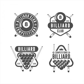 Conjunto de logotipo de design de bilhar