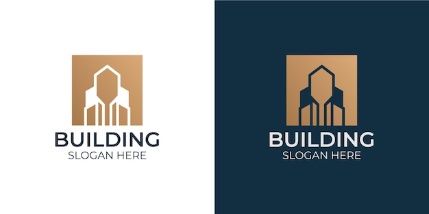 Conjunto de logotipo de design de construção minimalista