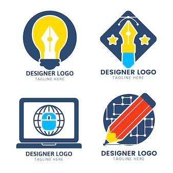 Conjunto de logotipo de designer gráfico de design plano