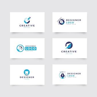 Conjunto de logotipo de designer gráfico plano