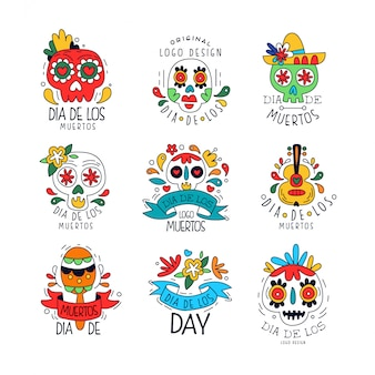 Conjunto de logotipo de dia de los muertos, elementos de design do feriado mexicano dia dos mortos pode ser usado para banner de festa, cartaz, cartão ou convite mão desenhada ilustrações