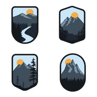 Conjunto de logotipo de distintivo de viagens aventura