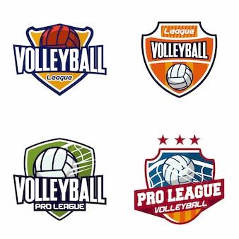 Conjunto de logotipo de distintivo de voleibol
