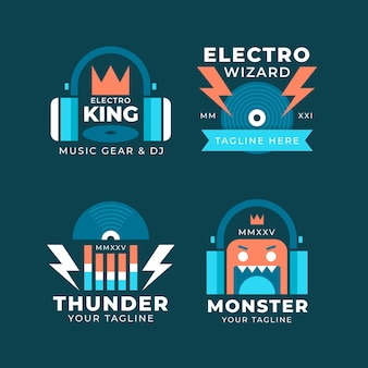 Conjunto de logotipo de dj de design plano